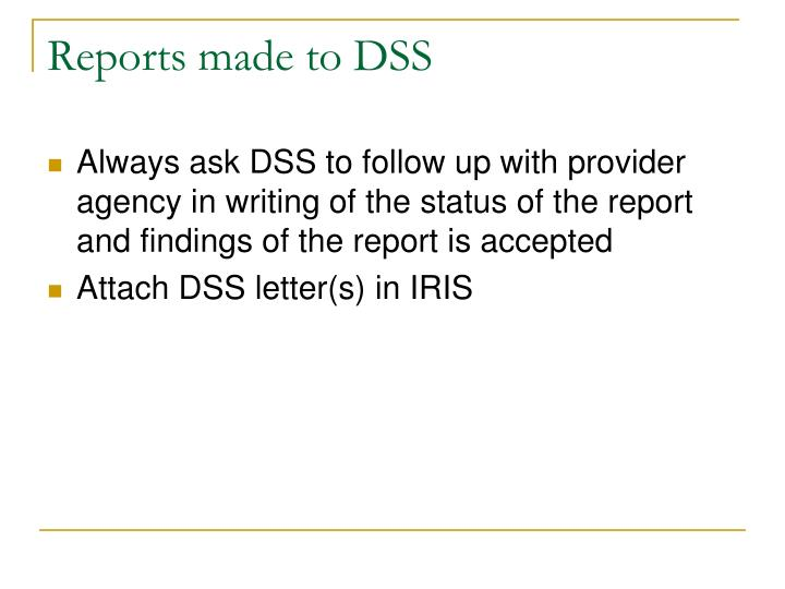 Reports made to DSS