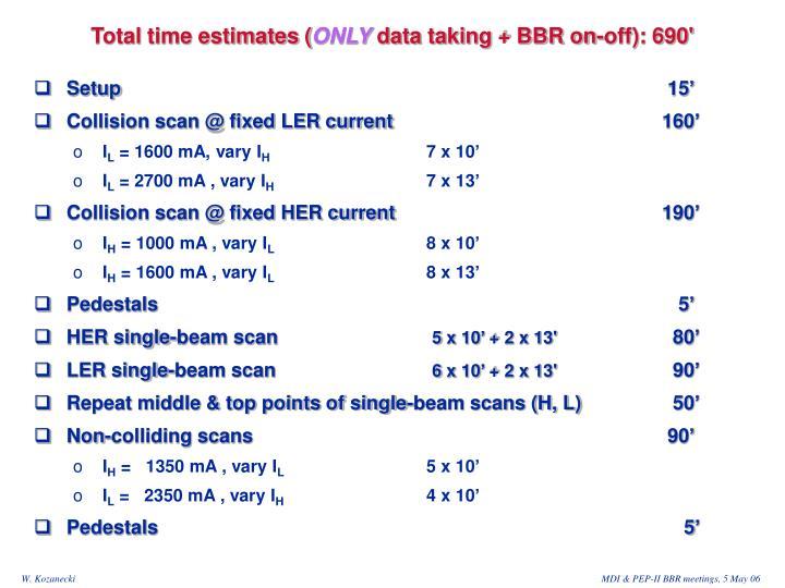 Total time estimates (