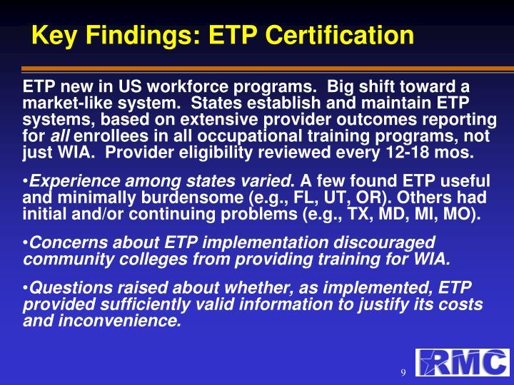 Key Findings: ETP Certification