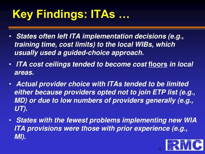 Key Findings: ITAs …