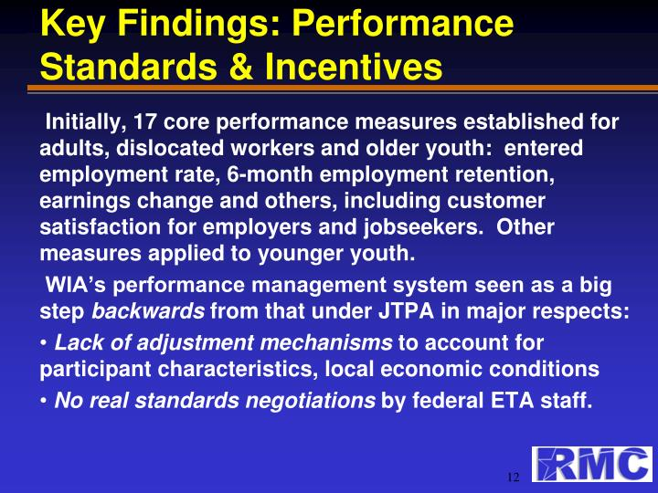 Key Findings: Performance Standards & Incentives