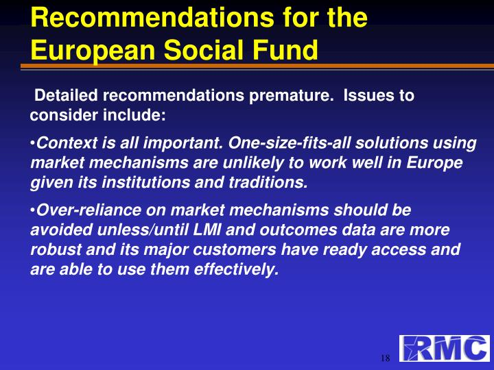 Recommendations for the European Social Fund