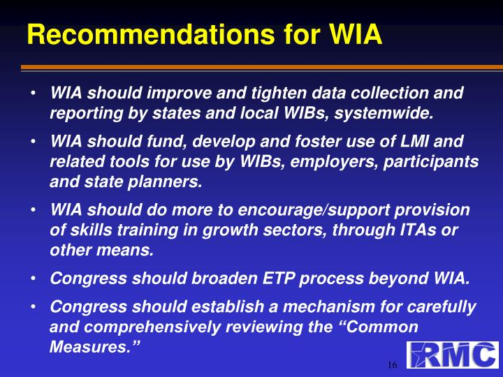 Recommendations for WIA