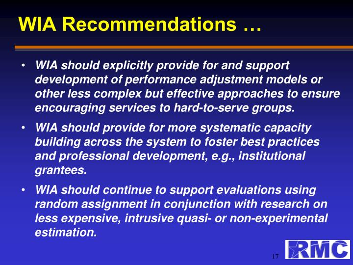 WIA Recommendations …