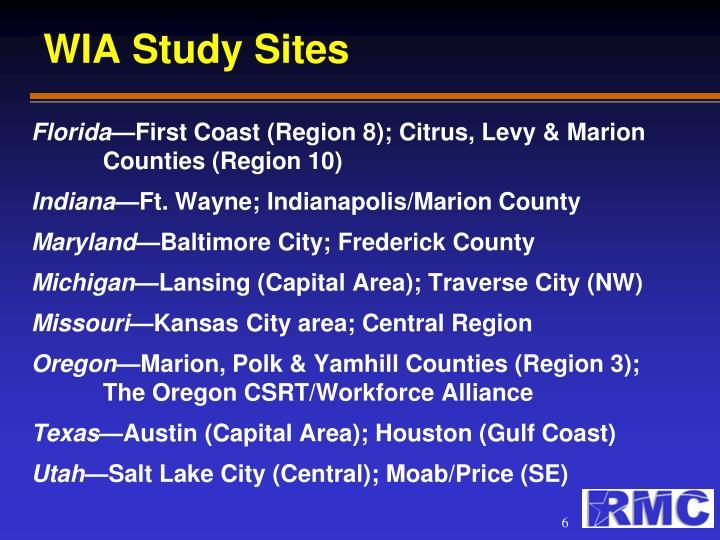 WIA Study Sites
