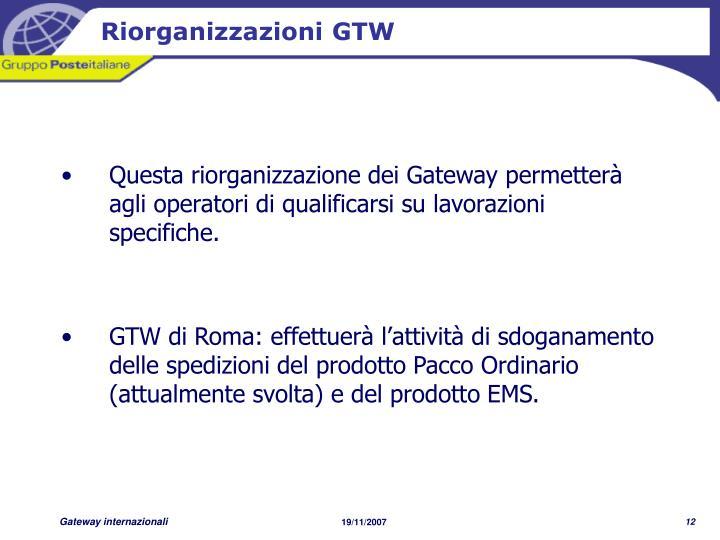 Riorganizzazioni GTW