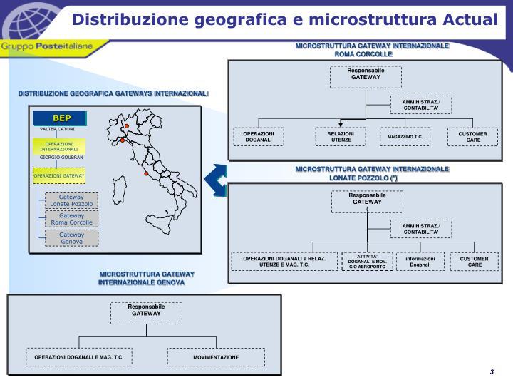 Distribuzione geografica e microstruttura Actual