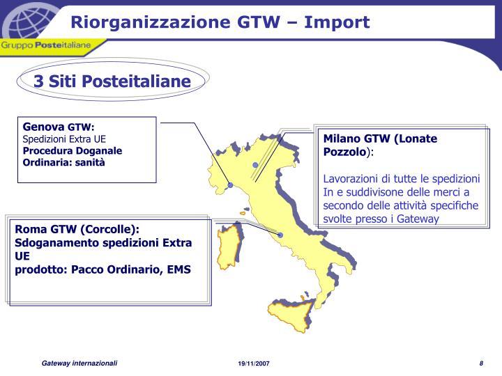 Riorganizzazione GTW – Import