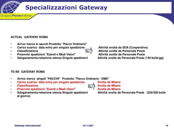 Specializzazioni Gateway