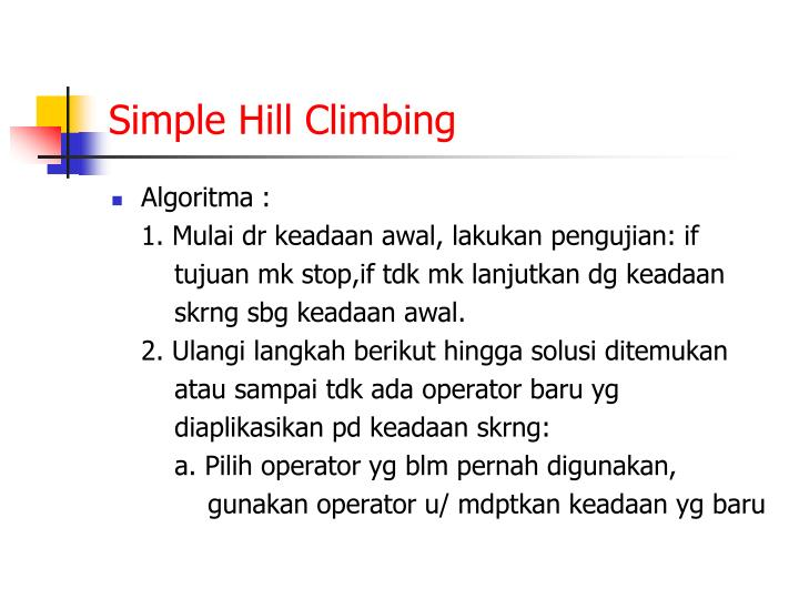Simple Hill Climbing