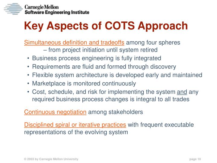 Key Aspects of COTS Approach