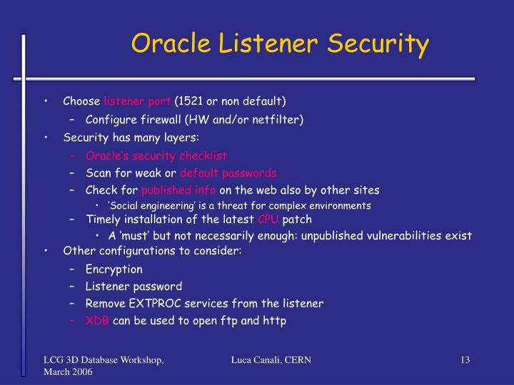 Oracle Listener Security