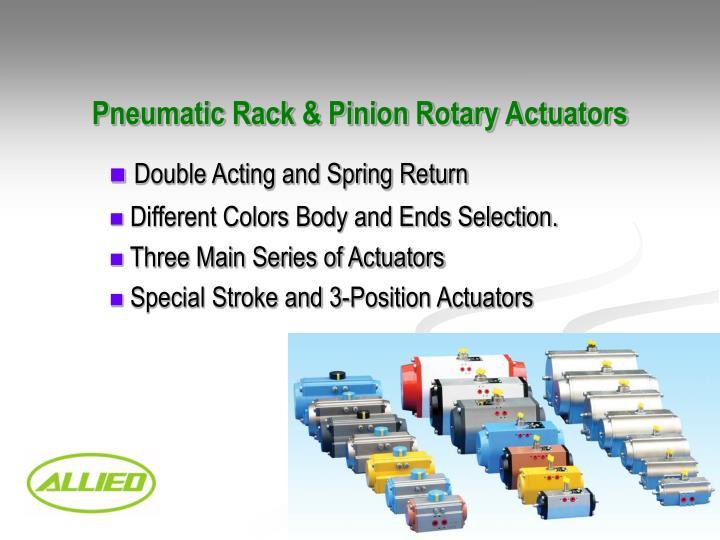 Pneumatic Rack & Pinion Rotary Actuators