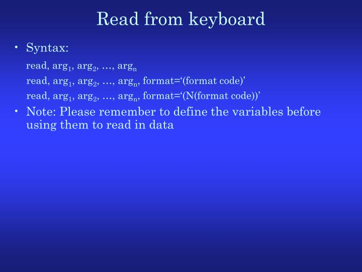 Read from keyboard