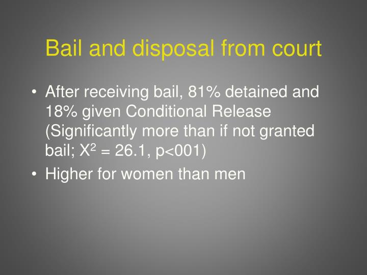 Bail and disposal from court