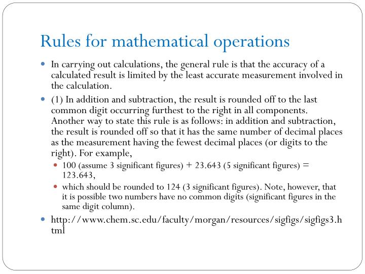 Rules for mathematical operations