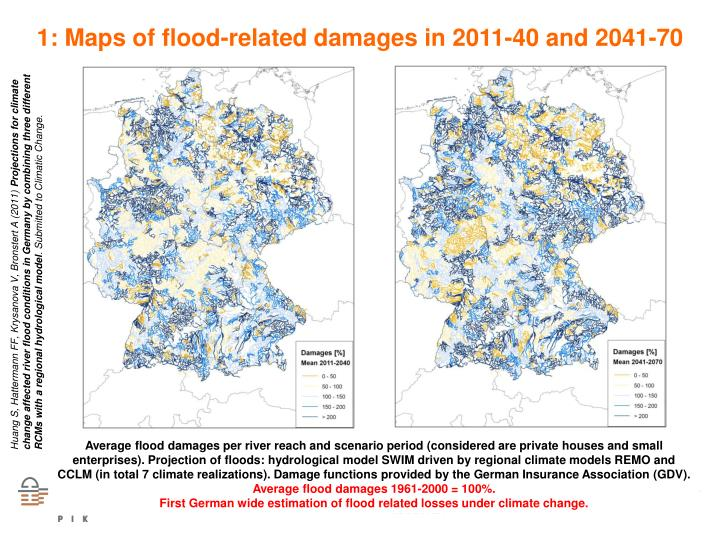 1: Maps of flood-related damages in 2011-40 and 2041-70