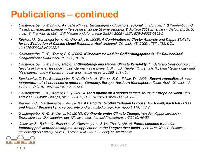 Publications – continued
