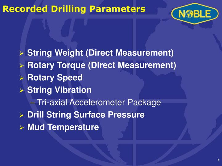 Recorded Drilling Parameters