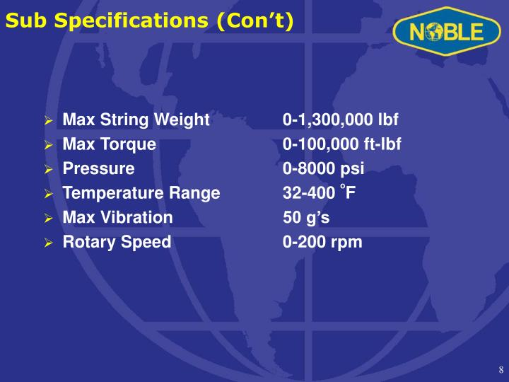 Sub Specifications (Con't)