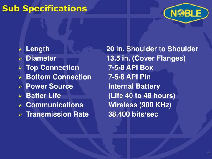 Sub Specifications