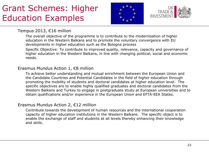 Grant Schemes: Higher Education Examples