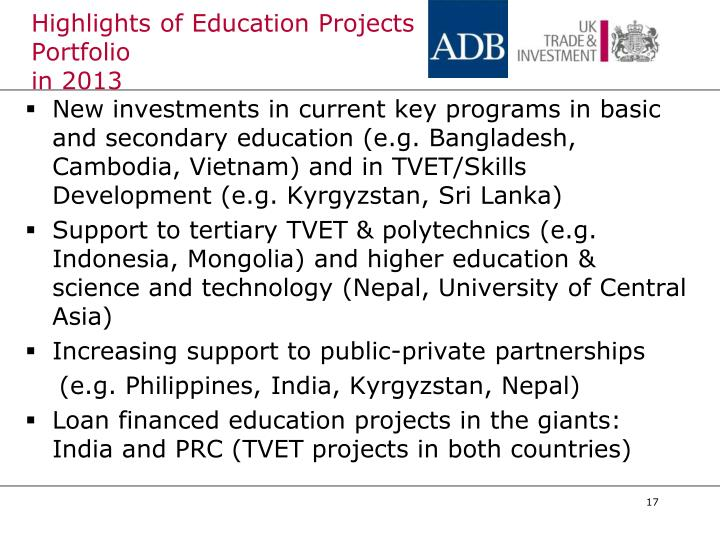Highlights of Education Projects Portfolio
