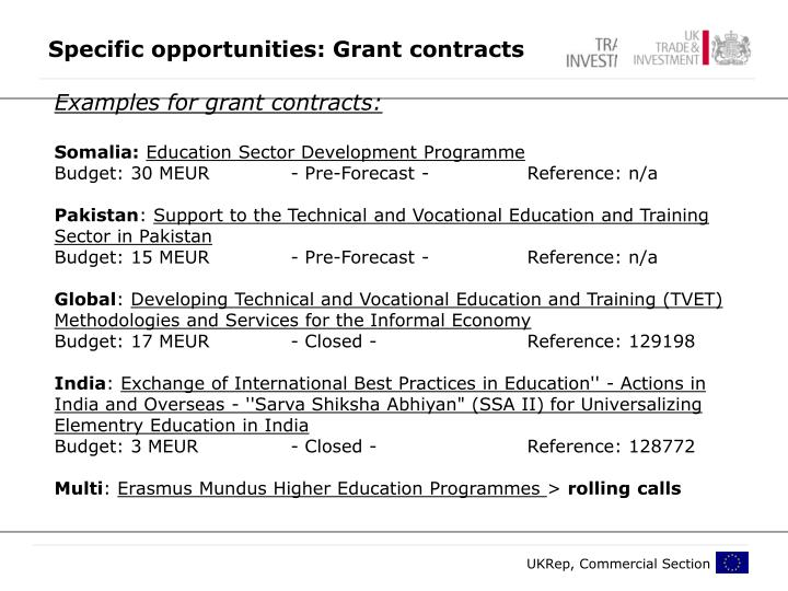 Specific opportunities: Grant contracts