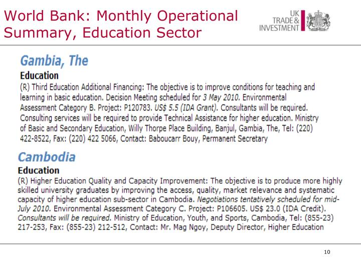 World Bank: Monthly Operational Summary, Education Sector