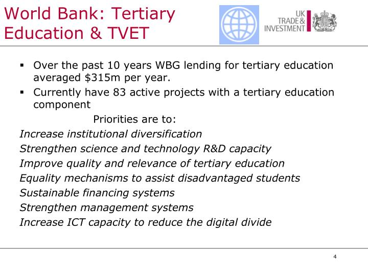 World Bank: Tertiary Education & TVET
