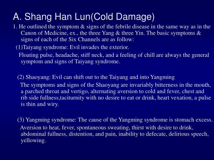 A. Shang Han Lun(Cold Damage)