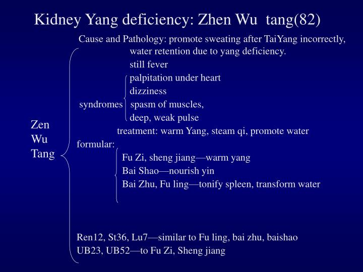 Kidney Yang deficiency: Zhen Wu  tang(82)