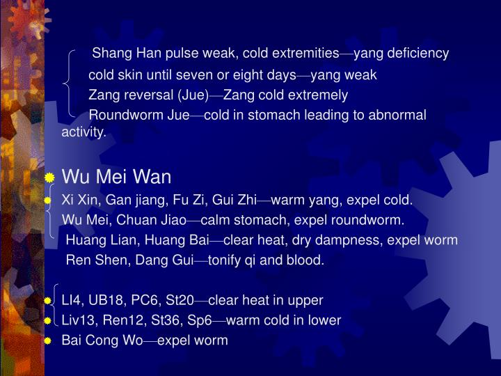 Shang Han pulse weak, cold extremities