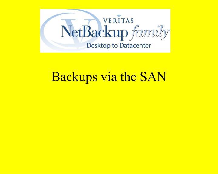 Backups via the SAN