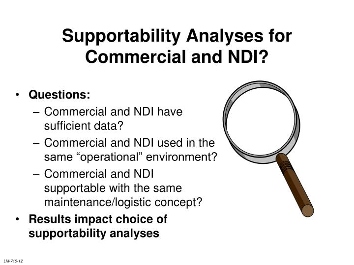 Supportability Analyses for Commercial and NDI?