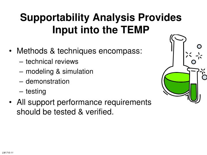 Supportability Analysis Provides Input into the TEMP