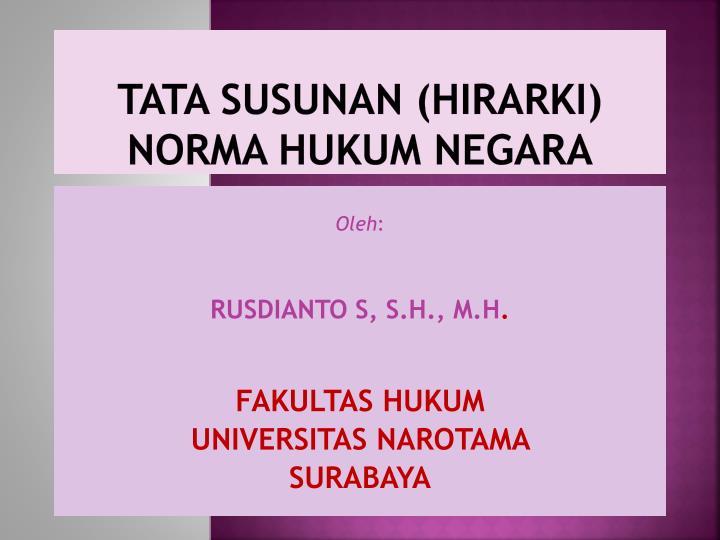 TATA SUSUNAN (HIRARKI) NORMA HUKUM NEGARA