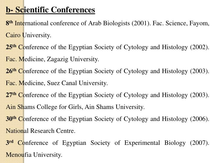 b- Scientific Conferences