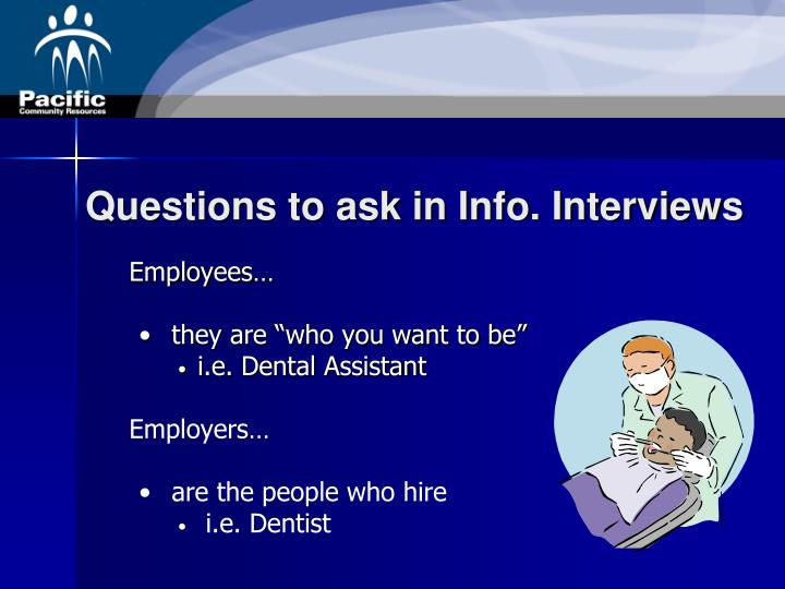 Questions to ask in Info. Interviews
