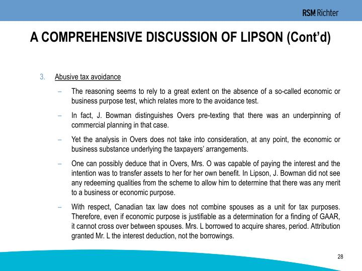 A COMPREHENSIVE DISCUSSION OF LIPSON (Cont'd)
