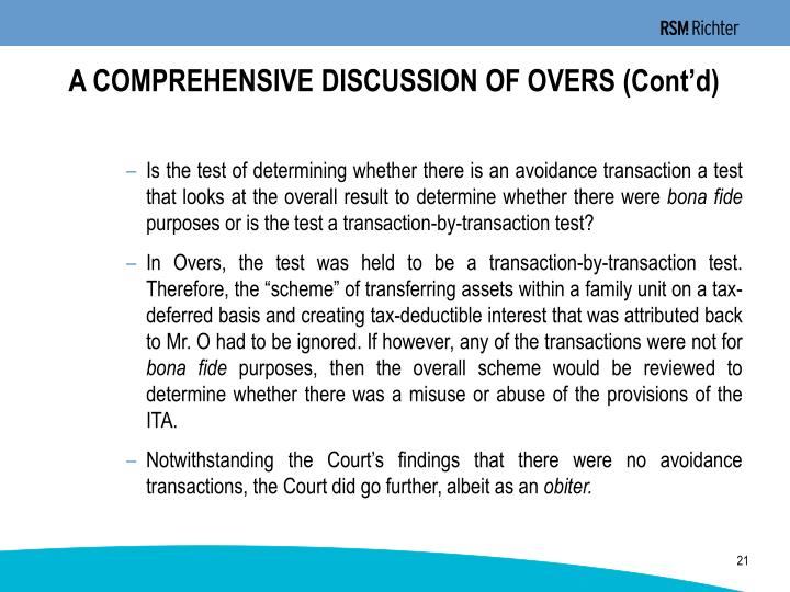 A COMPREHENSIVE DISCUSSION OF OVERS (Cont'd)