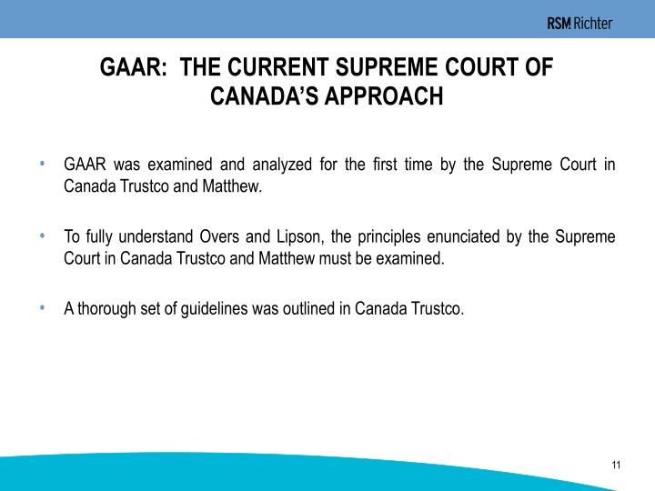 GAAR:  THE CURRENT SUPREME COURT OF
