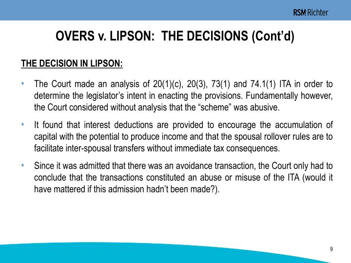 OVERS v. LIPSON:  THE DECISIONS (Cont'd)