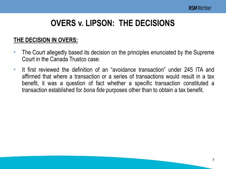 OVERS v. LIPSON:  THE DECISIONS