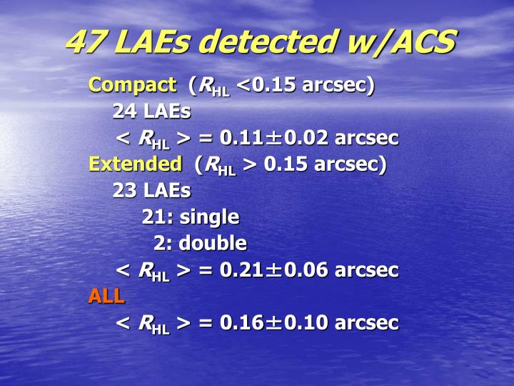 47 LAEs detected w/ACS