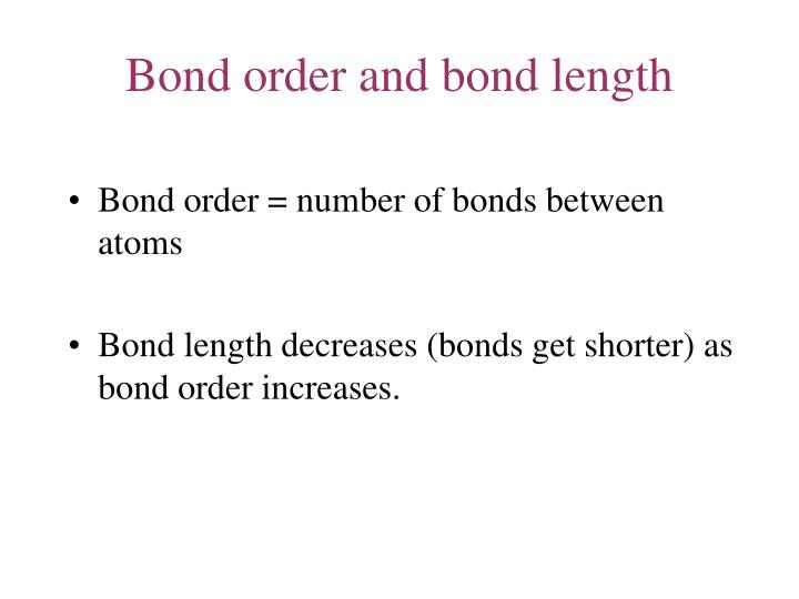 Bond order and bond length