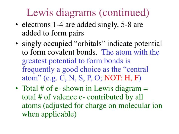 Lewis diagrams (continued)