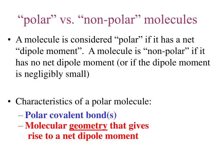 """polar"" vs. ""non-polar"" molecules"