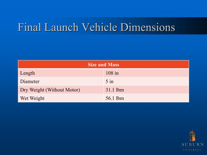 Final Launch Vehicle Dimensions