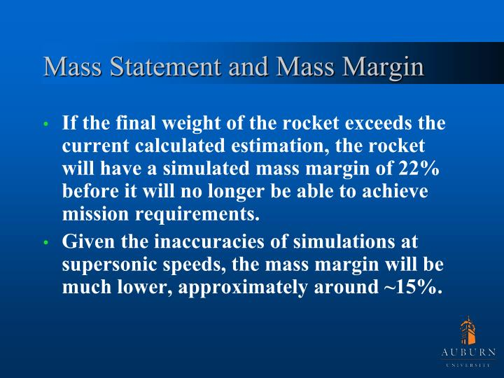 Mass Statement and Mass Margin